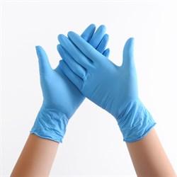 Перчатки нитриловые(с добавлением винила) синие размер М - фото 6711