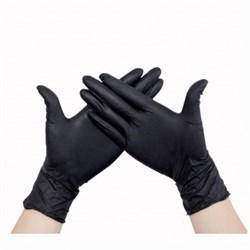 Перчатки нитриловые(с добавлением винила) черные размер М - фото 6713