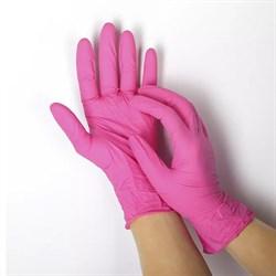 Перчатки нитриловые(с добавлением винила) розовые размер М - фото 6929