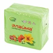 Салфетки бумажные однослойные 24*24 100шт/уп (зеленые)