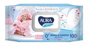Салфетки влажные детские AURA 100шт/уп крышка-клапан