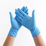 Перчатки нитриловые(с добавлением винила) синие размер L