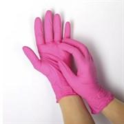 Перчатки нитриловые(с добавлением винила) розовые размер М