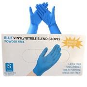 Перчатки нитриловые(с добавлением винила) синие размер S